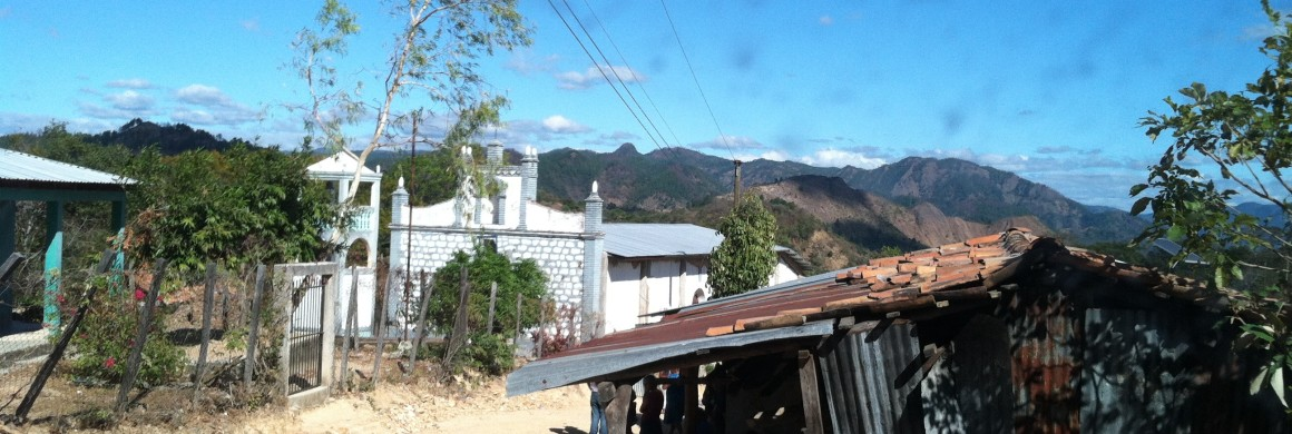Iglesia San Juan Bosco in El Portillo, Honduras. Note the bell tower next to the church.